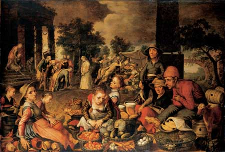 Pieter Aertsen, Market scene with Christ and the woman taken in adultery. Frankfurt am Main, Städel Museum