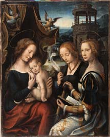 Antwerp, ca. 1520, Virgin and Child with Sts. Barbara and Catherine