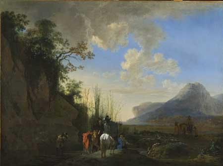 Jan Asselijn, Coast with riders resting. Vienna, Gemäldegalerie der Akademie der bildenden Künste