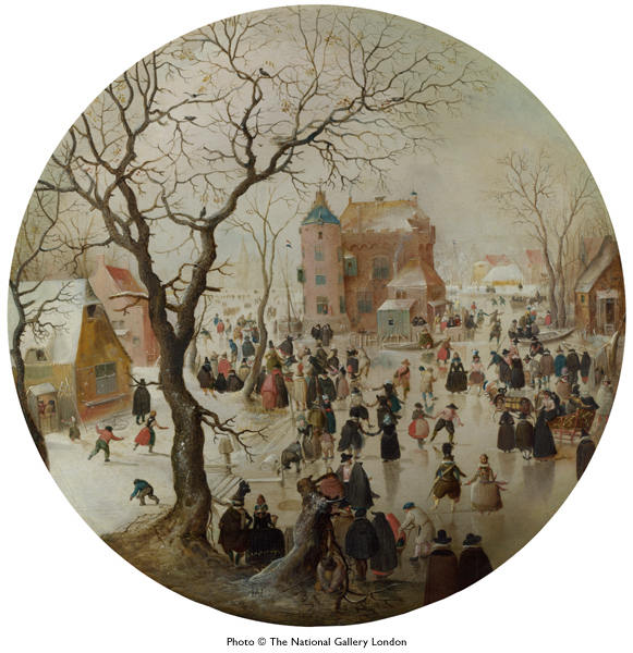Hendrik Avercamp, Winter scene with skaters near a castle, ca. 1608-09. London, National Gallery