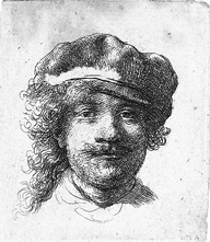 Rembrandt, Self portrait with flat cap, ca. 1634, Bartch 2, Coll. William Cuendet