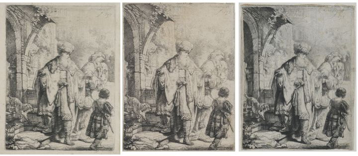 Three versions of Rembrandt's etching The dismissal of Hagar and Ishmael, Herbert F. Johnson Museum of Art