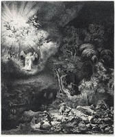 Rembrandt, Angel appearing to the shepherds, 1634. Detroit, Instiute of Arts