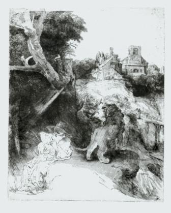 Rembrandt, St. Jerome in an Italian landscape, ca. 1653, Munich, Staatliche Graphische Sammlung München