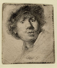 Rembrandt, Self portrait with eyes wide open, 1630. London, British Museum