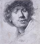 Rembrandt, Self-portrait with eyes wide open, 1630, New York, Morgan Library