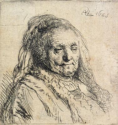 Rembrandt, An elderly woman (Rembrandt's mother, head and bust). Hanover, Hood Museum