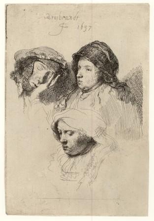 Rembrandt, Study sheet with three women, St. Gallen