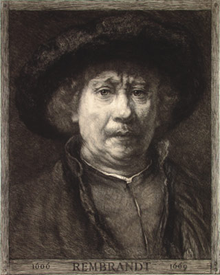 William Unger after Rembrandt, Self=portrait in the Kunsthistorisches Museum, Vienna, 1906, etching with aquatint, National Brukenthal Museum, Sibiu