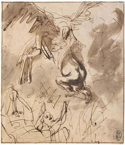 Rembrandt, The abduction of Ganymede, ca. 1635, Dresden, Kupferstich-Kabinett