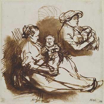 Rembrandt, Studies of women and children, ca. 1640s. Stockholm, Nationalmuseum