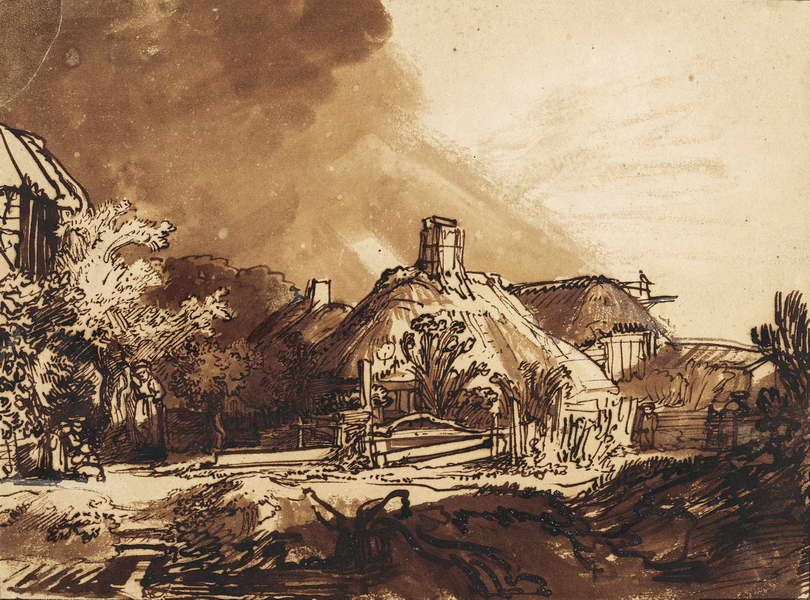 Rembrandt, Cottages under a stormy sky, mid-1630s, Vienna, Albertina