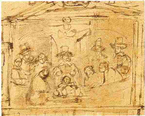 Rembrandt, preparatory drawing for Anatomy lesson of Dr. Joan Deijman, ca. 1656, Amsterdams Historisch Museum