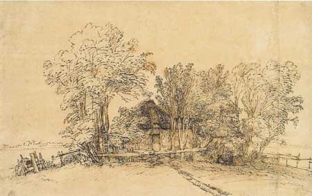 Rembrandt, Cottage among trees. New York, Metropolitan Museum of Art