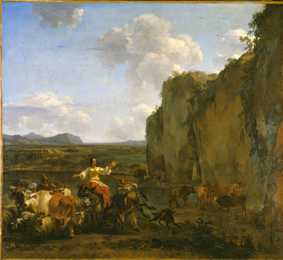 Nicolaes Berchem, Italianate landscape with stubborn mule, 1655. Braunschweig, HAUM
