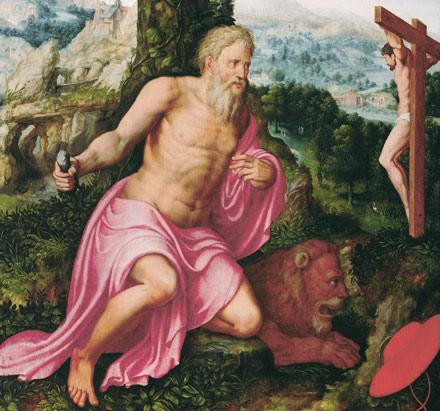 Herri met de Bles and Lambert van Noort, St. Jerome in a landscape. Namen, Musée des Art Anciens