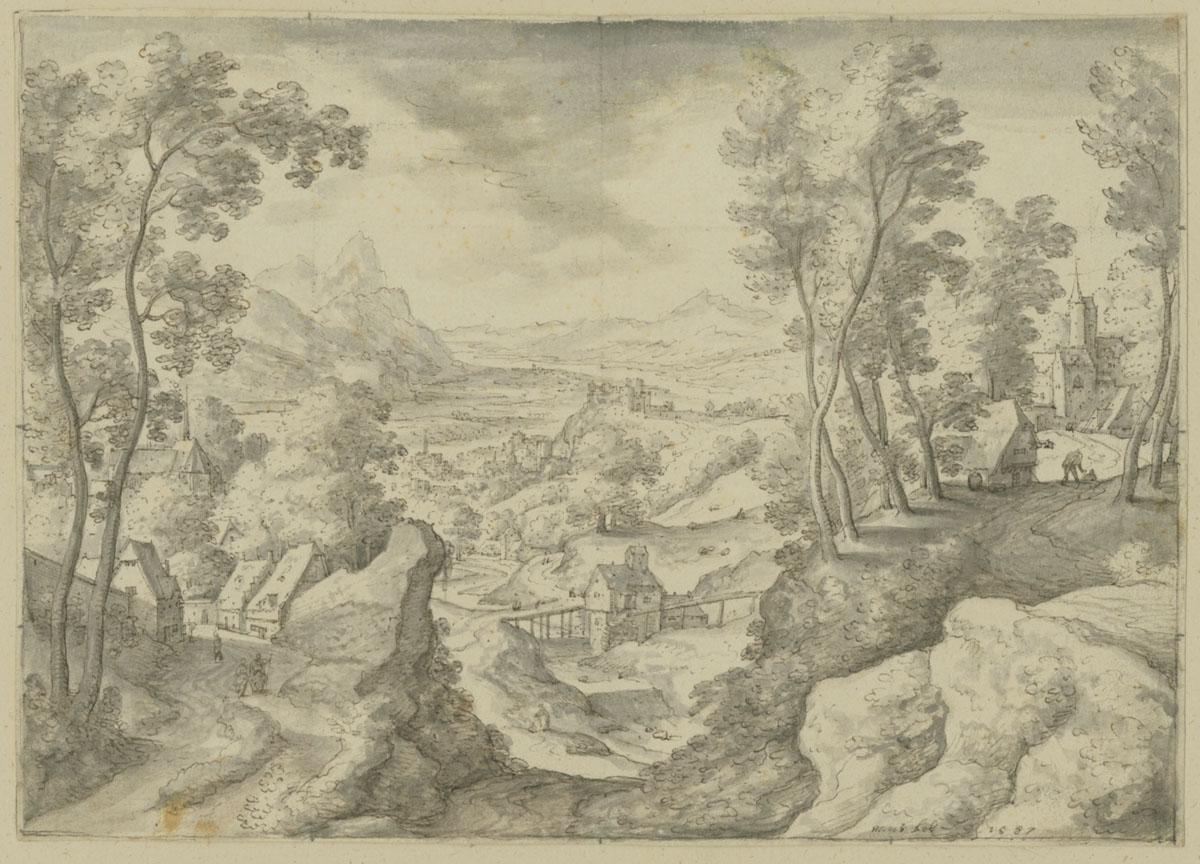 Hans Bol, Landscape, 1587. Elkind coll.