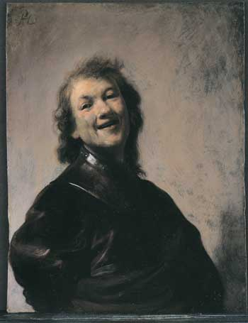Rembrandt, Self-portrait laughing. Owner unidentified