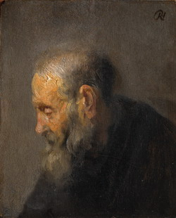 Study of an old man in profile, attributed to Rembrandt van Rijn, ca. 1630, Copenhagen, Statens Museum for Kunst