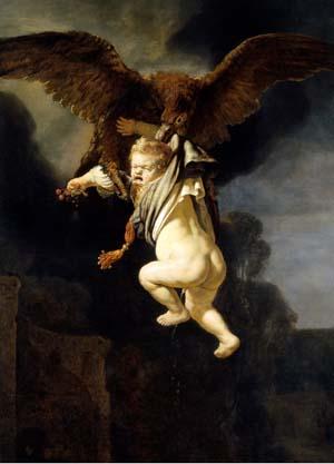 Rembrandt, The abduction of Ganymede, 1635, after restoration. Dresden, Gemäldegalerie
