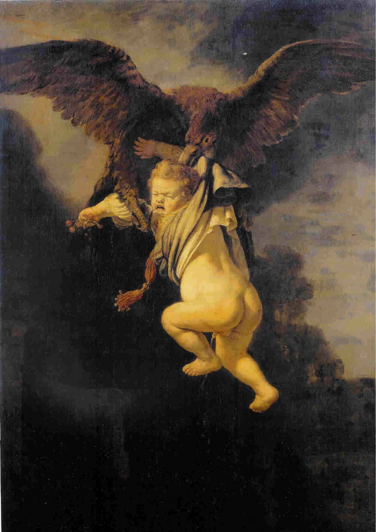 Rembrandt, The abduction of Ganymede, 1635. Dresden, Gemäldegalerie, before restoration