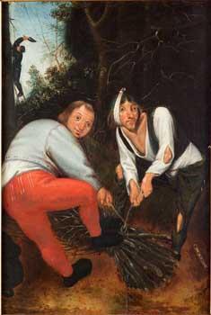 Pieter Bruegel II, Peasants tying branches. Prague, National Gallery