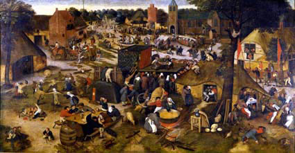 Pieter Bruegel the Younger (circle), Village kermis with theater and procession