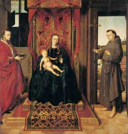 Petrus Christus, Madonna with Sts. Jerome and Francis of Assisi, 1457. Frankfurt, Städel Museum