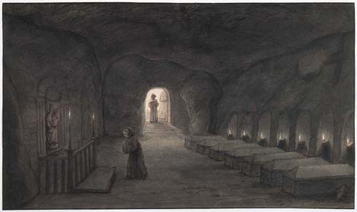 Lambert Doomer, Cave of the seven sleepers, Marmoutier Abbey, 1646. Leiden, print room