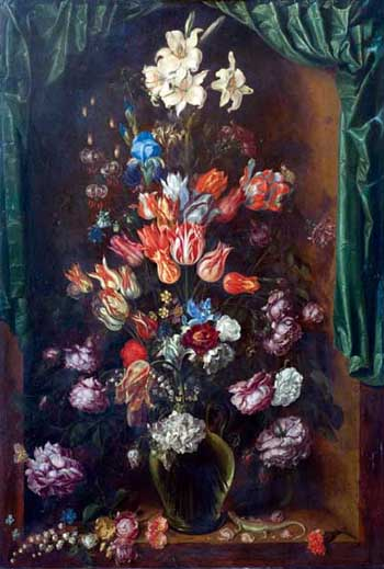 Jacques de Gheyn II, Vase of flowers with curtain. Fort Worth, Kimbell Art Museum