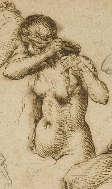 Jacques de Gheyn II, detail of sheet with nude women doing their hair