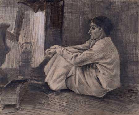 Vincent van Gogh, Woman (Sien) at stove, 1882. Otterloo, Kröller-Müller Museum