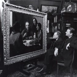 Dirk Hannema and Hendrik Luitwieler in front of van Meegeren's Supper at Emmaus, 1938