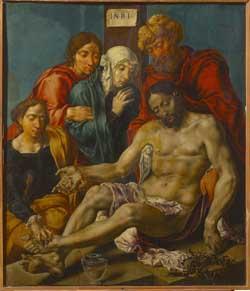 Maerten van Heemskerck, The lamentation of Christ. Budapest, Museum of Fine Arts. Before restoration