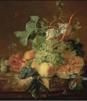 Jan van Huysum, Still life of fruit on a marble plinth, 1736. Delft, Stedelijk Museum Het Prinsenhof