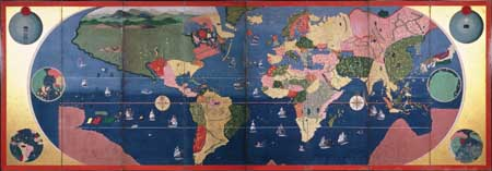 World map, from Four large cities of the world, early 17th century. Kobe Art Museum