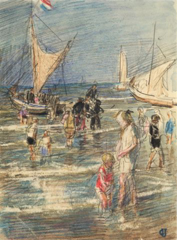 Johan Antoni de Jonge, Beach scene. Fred Klomp collection