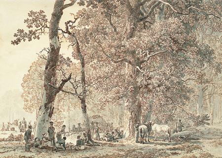 Barend Cornelis Koekkoek, Military encampment in the woods. Kleve, B.C. Koekkoek Haus