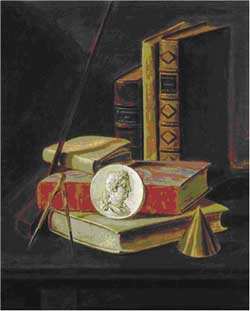 Johannes Leemans, Still life with optical instruments and portrait medallion. Left pendant. Private collection