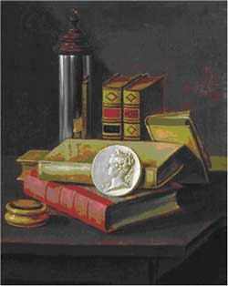 Johannes Leemans, Still life with optical instruments and portrait medallion. Right pendant. Private collection