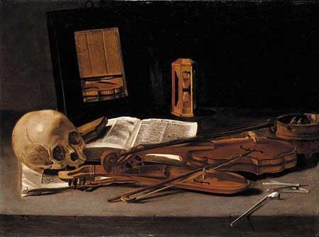 Leiden master, ca 1635. Vanitas still life with skull. Hamburg, Kunsthalle