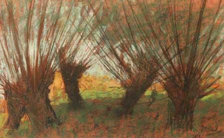 Eugène Lücker, Five pollard willows, 1912. Private collection