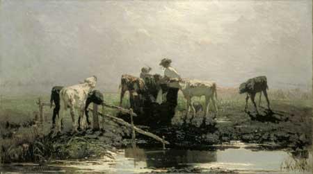 Willem Maris, Calves at a trough. The Hague, Gemeentemuseum Den Haag