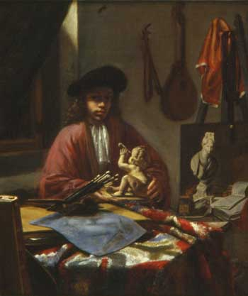 Michiel van Musscher, Self-portrait in studio. Miami Beach, Bass Museum of Art