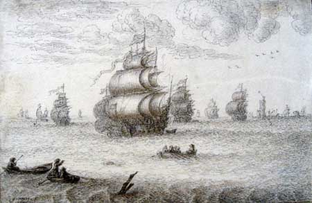 Gillis Neyts, Sailing ships under full sail. London, British Museum