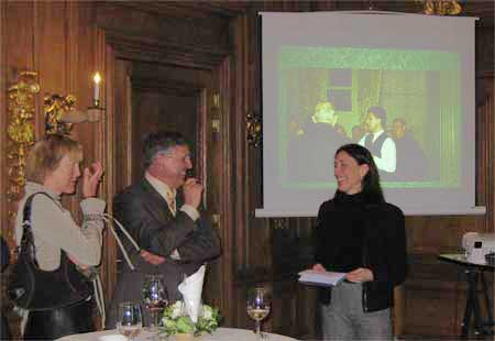 Emilie Gordenker addressing Brenda and Peter van der Ploegt, 31 March 2008