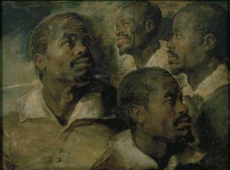 Peter Paul Rubens, Four studies of the head of a Moor. Brussels, Koninklijke Musea voor Schone Kunsten van België
