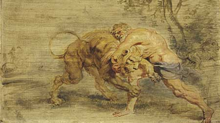 Peter Paul Rubens, Herculrs strangling the Nemean lion. Cambridge, Fogg Art Museum