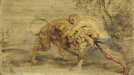 Peter Paul Rubens, Herculrs strangling the Nemean lion. Cambridge, Fogg Art Museum