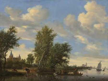 Salomon Jacobsz van Ruysdael, River landscape with ferry. Washington, National Gallery of Art